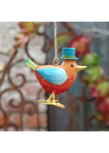 """Metall Vogel """"Flori"""" S orange zum Hängen H 9,5 cm"""
