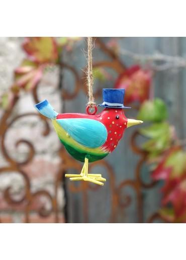 "Metall Vogel ""Flori"" S rot gepunktet zum Hängen H 9,5 cm"