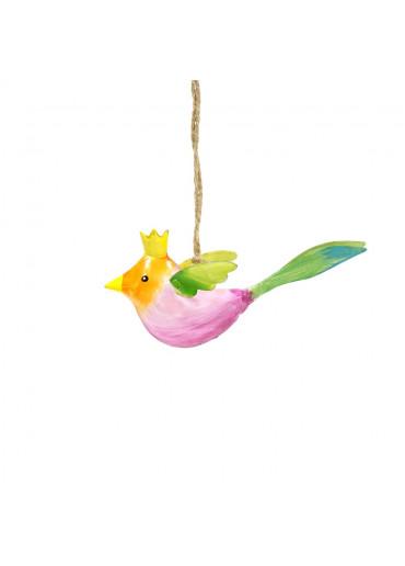Metall Vogel mit Krone mini zum Hängen (113009)
