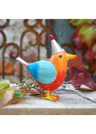 """Metall Vogel """"Rico"""" M orange mit Mütze H17 cm"""
