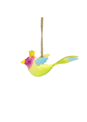 Metall Vogel mit Krone mini zum Hängen (113006)