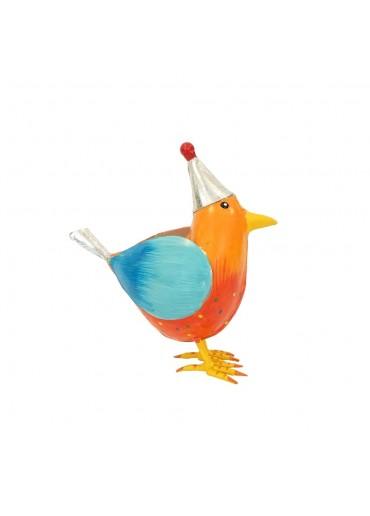 """Metall Vogel """"Rico"""" L orange mit Mütze H20,5 cm"""