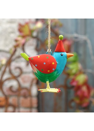 """Metall Vogel """"Rico"""" S blau zum Hängen H10 cm"""
