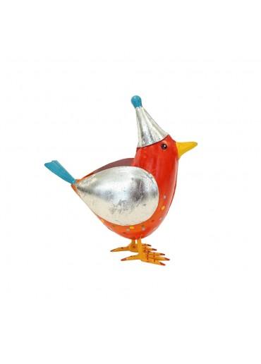 "Metall Vogel ""Rico"" L rot mit Mütze H20,5 cm"