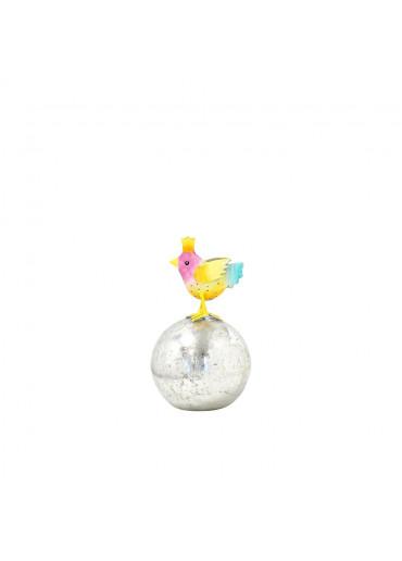 Metall Vogel mini mit Krone auf silberner Kugel H 12,5 cm