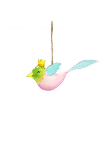 Metall Vogel mit Krone mini zum Hängen (113007)