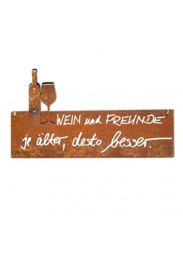Rostige Spruchtafel S quer Wein | Wein & Freunde
