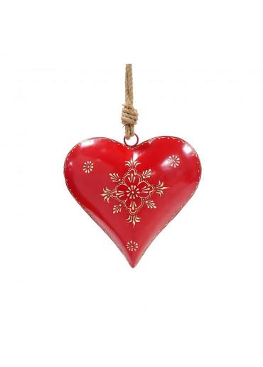 Metall Herz rot bauchig L