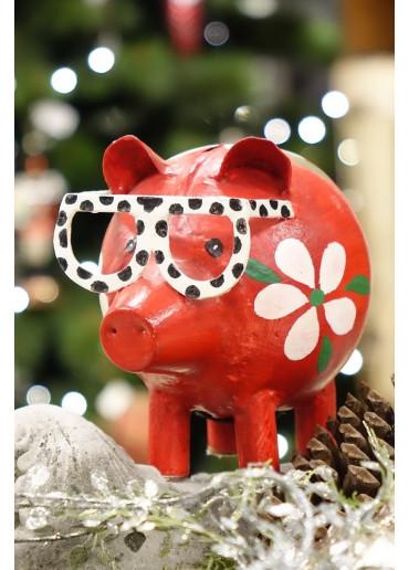 Metall Spardose Brillen Pig