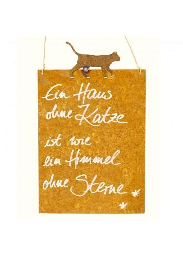 Rostige Spruchtafel M Katze | Himmel ohne Sterne