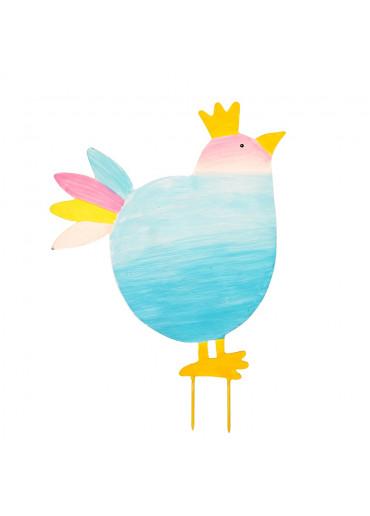 Metall Vogel mit Krone zum Stecken groß