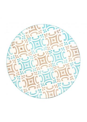 "Vista Portuguese Keramik Speiseteller ""Mosaik türkis""  Ø 30 cm"
