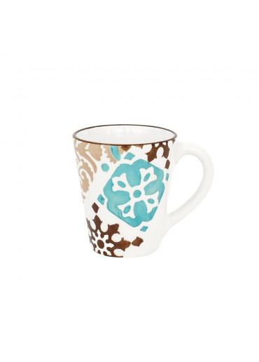 "Vista Portuguese Keramik Becher ""Azulejo türkis-braun"""