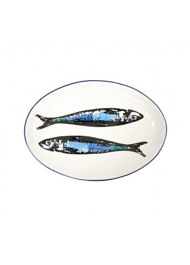 "Vista Portuguese Keramik Platte oval ""Sardine weiß"" medium"