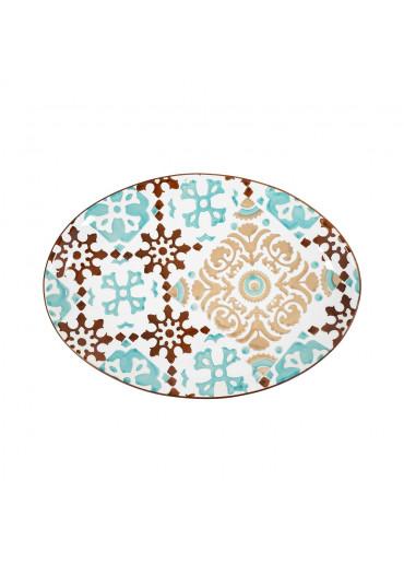 "Vista Portuguese Keramik Platte oval ""Azulejo türkis-braun"" medium"